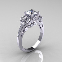 Classic 14K White Gold 1.0 CT Cubic Zirconia Diamond Solitaire Wedding Ring R203-14KWGDCZ