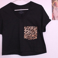 Cheetah Print Pocket Tee (black)