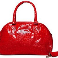 Amazon.com: Ladies Red Crocodile Designer Inspired Fashion Duffle Bag / Purse with Textured Fabric: Clothing