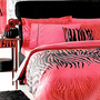 Custom Queen or Double Size Red Black Smoke Tiger Stripes Print Ranforce Bedding Set
