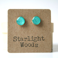 Aqua metallic studs post earrings wood earrings minimalist jewelry eco fashion eco friendly unique gift for her