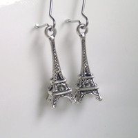 Antique Silver Eiffel Tower Earrings, Bridesmaid Gift, Bridesmaid Earrings, Paris Earrings