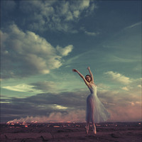ballet, beatiful, clouds, fredom, free, girl - inspiring picture on Favim.com