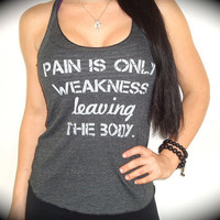 "American Apparel ""Pain Is Weakness Leaving The Body"" Tri-Blend Racerback Tank In Asphalt Black"