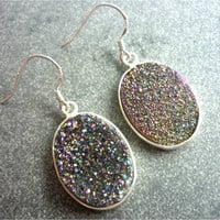 Titanium Quartz Rainbow Druzy Earrings n3 925 silver by AstralEYE