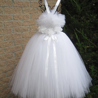 Tutu Dress,  COTTON BALL WHITE, Fluffy-top,  Elastic, Crochet-style Bodice, Length of dress 32 Inches.  For Girls.