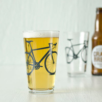 2 hand printed bike pint glasses, charcoal gray bicycle