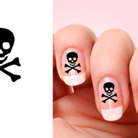 Set of 20 Skull with bones nail art decals.