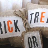 Original Petite Trick or Treat Burlap Pillows by myadobecottage