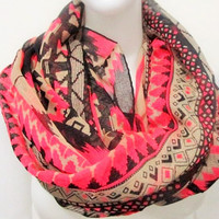 Aztec Infinity Scarf by KnitPopShop - Pink / One Size / Default Title