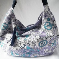 Hippie Hobo - Print handbag in lavendar and blue - Handmade bags