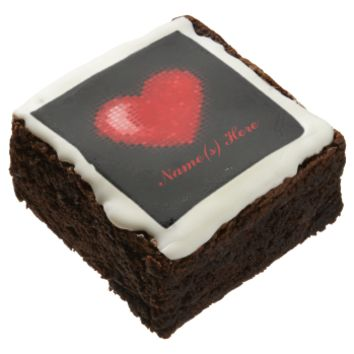 Tiled Mosaic Heart (Bright Red) Square Brownie