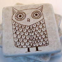 Tile Coasters - Whimsical Brown Owl