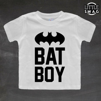 Bat Boy (white shirt) - toddler apparel, kids t-shirt, children's, kids swag, batman, clothing, super hero shirt, nerdy kids shirt,