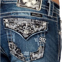 Miss Me Embellished Lace Overlay Pocket Jeans - Extended Sizes - Sheplers