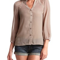 Lace Inset Open Back Blouse: Charlotte Russe