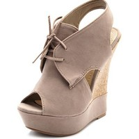 Velvet Oxford Peep-Toe Wedge: Charlotte Russe