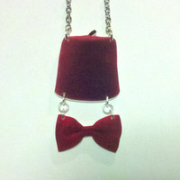 11th Doctor charm necklace - Doctor Who Jewelry - Fez and Bow Tie Necklace