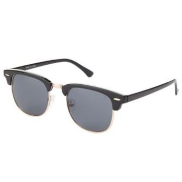 Retro Plastic-Tipped Round Sunglasses by Charlotte Russe - Black