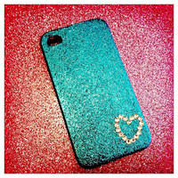 Glitter iPhone Case With Rhinestone Heart