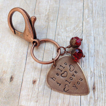 "The Doors Metal Guitar Pick ""Hello I Love You"" Keychain, Hand Stamped"