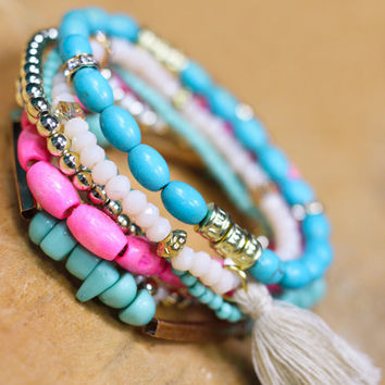 Bright & Beautiful Arm Candy - TURQUOISE
