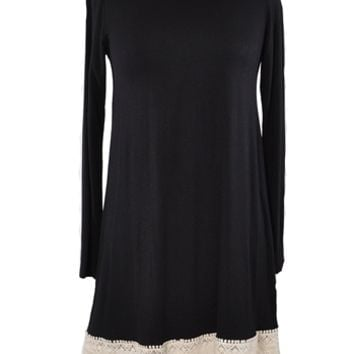 Cozy in Crochet Top - Black