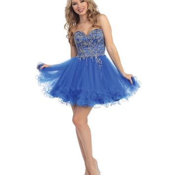 Preorder - Royal Blue Embellished Beaded Sweetheart Dress Prom 2015