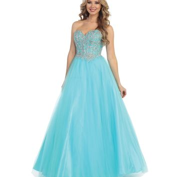 Preorder - Aqua Beaded Strapless Sweetheart Gown Prom 2015
