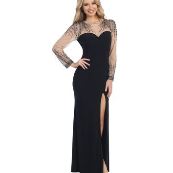 Black & Nude Sheer Beaded Sweetheart Gown Prom 2015