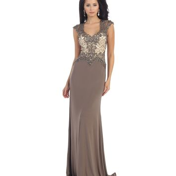 Taupe Sheer Lace Beaded Dress Prom 2015