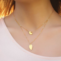 "Layering necklace, gold leaf necklace, bridal necklace, circle necklace, vermeil, wave pendant, ""Ariadne"" Necklace"