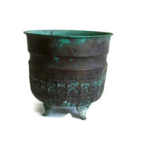 Antique copper footed BOWL natural patina VERDIGRIS - Hand hammered ornate PLANTER pot - Metal housewares arts and crafts home decor