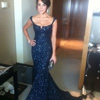 Sexy Mermaid Long Black Sequin Formal Evening Celebrity Dresses Prom Ball Gown