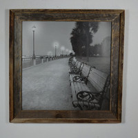 Barnwood picture frame 16x16 with black and white city beach print