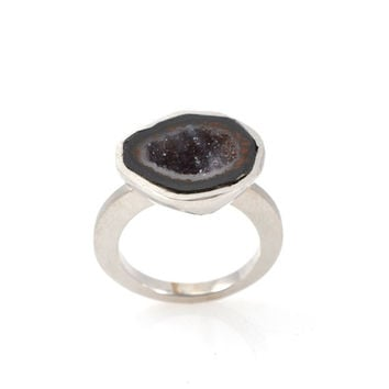 agate ring, druzy ring, Silver ring, silver stone ring,  ring, geode ring, silver geode ring