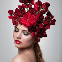 Strawberries headpiece-Fascinator
