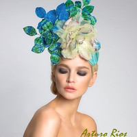 Turquise Fascinator--headpiece