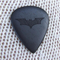 The Dark Knight Tribute Pick - Handmade Laser Engraved Exotic Gabon Ebony Premium Guitar Pick