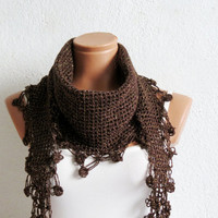 Knitted Scarf Chunky Neck Warmer Brown and gold sim. Winter Fashion Knitted Cowl. Woman Accessory