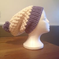 White and Purple Slouchy Beanie with PomPom - Winter accessories