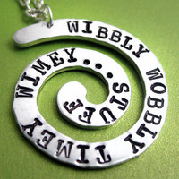 Timey Wimey Spiral Necklace - Hand Stamped Doctor Who Jewelry, Wibbly Wobbly Timey Wimey...Stuff