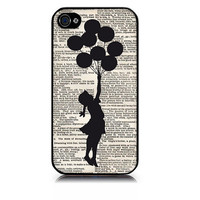 iPhone case includes screen protector and cleaning cloth Banski Ballon girl . Available in black or white