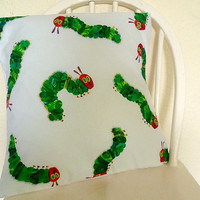 Hungry Catapillar Pillow Cover, Childs Pillow, Fun Pillows, Hungry Catapillar, ROOBYS FABRIC