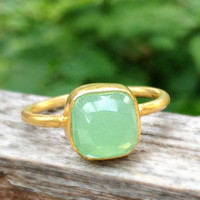 Stackable Gemstone Ring, Bezel Chrysoprase Ring, Gold Vermeil, Sterling Silver, Gemstone Ring, Cushion Cut Ring, Green Gemstone, Christmas