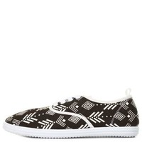 Tribal Print Canvas Sneakers by Charlotte Russe - Black/White