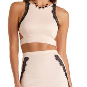 Lace-Trim Cut-Out Crop Top by Charlotte Russe - Blush