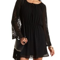 Skater Dress with Lace Sleeves by Charlotte Russe - Black