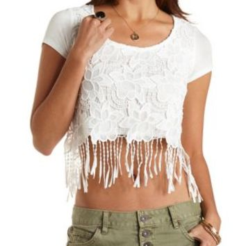 Chunky Lace Crochet Crop Top by Charlotte Russe - White