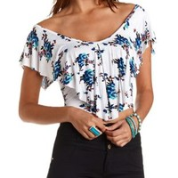 Floral Print Ruffle Flounce Crop Top by Charlotte Russe - White Combo